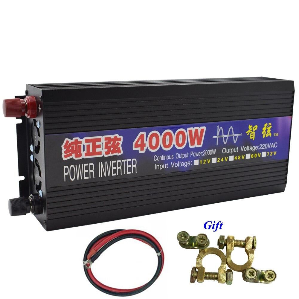 Dual LED Display Peak 4000W Pure Sine Wave OFF Grid Inverter DC12V/24V to AC220V Power Inverter Converter Houseuse Solar System plastic car dc12v 24v to ac220v power inverter with usb port black