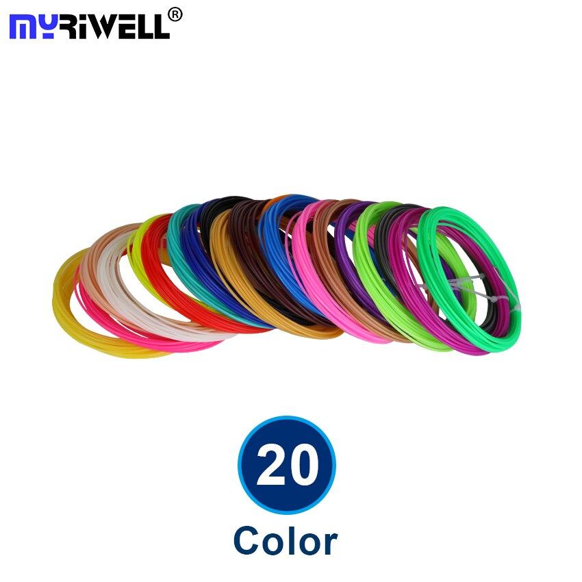 20 color o 10 color/set 3D Pen filamento ABS/PLA 1,75mm caucho plástico Material de impresión para 3D filamento impresora