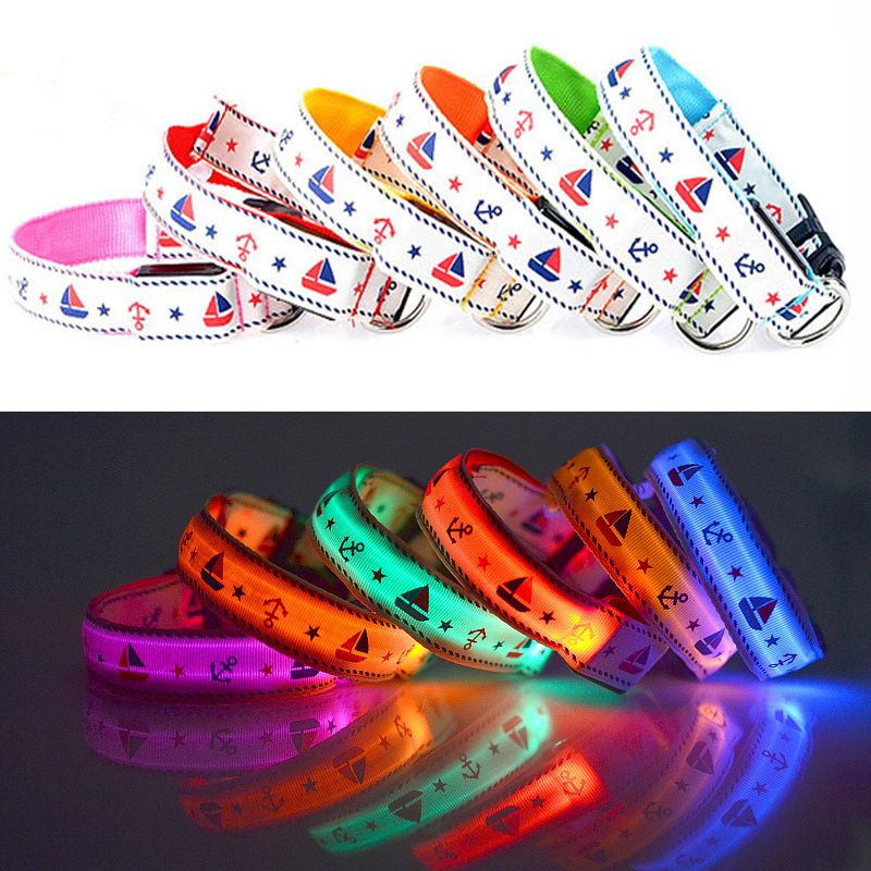 N31 Lovely Sailor Nylon Pet Dog LED Collar Night Safety Glow Flashing Dog Cat Collar USB rechargeable Luminous Small Dogs Collar
