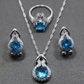 Hot Selling Natural Blue Created Topaz 925 Silver Jewelry Sets Earrings/Pendant/Necklace/Ring For Women Free Gift TZ19
