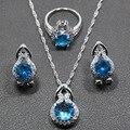 Venta caliente Creado Topacio Azul Natural 925 Pendientes de Plata de La Joyería/Colgante/Collar/Anillo De Las Mujeres Del Envío regalo TZ19