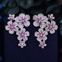GODKI 48mm Flower Boom Luxury Trendy Full Mirco Paved Cubic Zirconia Naija Wedding Drop Earring Fashion