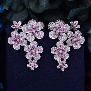 Image 1 - GODKI 48mm Flower Boom Luxury Trendy Full Mirco Paved Cubic Zirconia Naija Wedding Drop Earring Fashion Jewelry