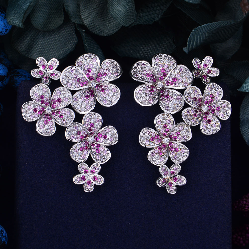 GODKI 48mm Flower Boom Luxury Trendy Full Mirco Paved Cubic Zirconia Naija Wedding Drop Earring Fashion Jewelry