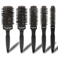 5pcs/set Heated Color Changing Barber Round Brush Ceramic Ionic Comb For Hair Dry Styling 5 Sizes Nano Thermal Hair Brush U1232