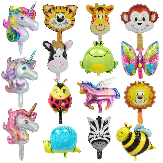 1pcs Mini Animal Head Foil Balloons Kids Birthday Theme Jungle Party Ocean Fish Balls Inflatable Toys Baby Shower Unicorn Party