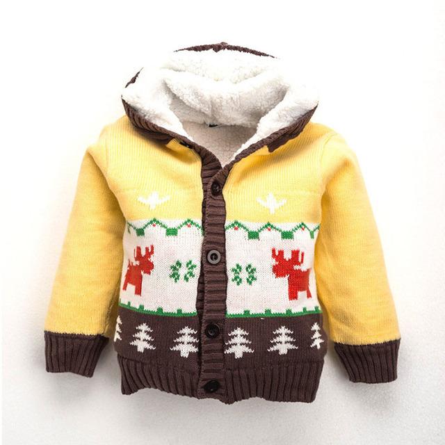 Otoño invierno suéter de punto infantil 2016 bebé, niña, niño animal de la historieta niños niñas jersey de cuello alto suéter con capucha espesar caliente