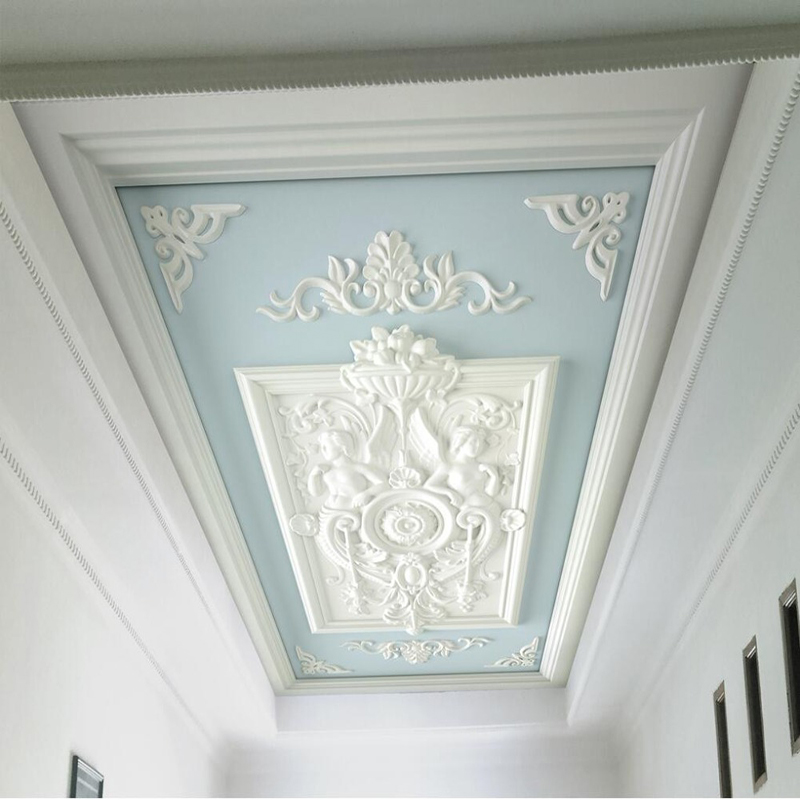 European Style 3D Embossed Ceiling Mural Wallpaper Modern White Gypsum Flowers Photo Wall Paper Living Room Hotel Ceiling Fresco