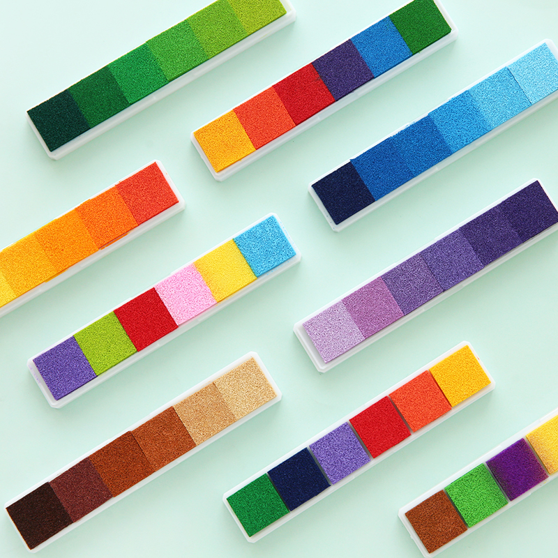 Non-toxic Gradient Color Ink Pad Inkpad Rubber Stamp Oil Based Finger Print Nice Gift Stamp Diy Art