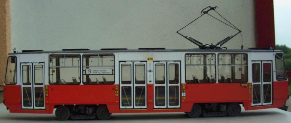 DIY Paper Model Polish Tram Bus 105N 1973 Boy Gift Papercraft 3D Puzzle