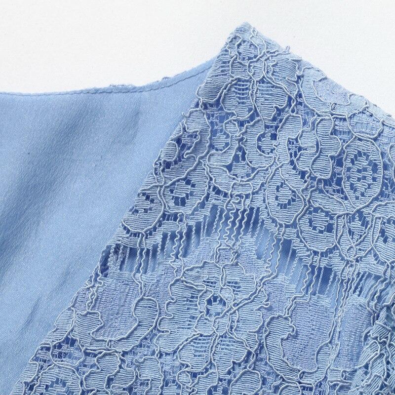 Mot Bleu blanc Dentelle Col Nouveau Couture D'été Mince Robe Sexy Scarlett Taille Un Tempérament V Paiya FOFx6qz