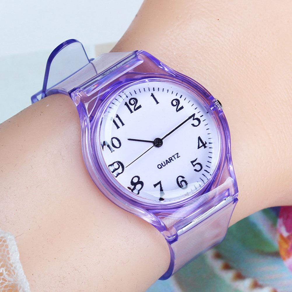 LinTimes Women Men Lovers Watches Fashion Transparent Candy Color Plastic Band Casual Quartz Watches