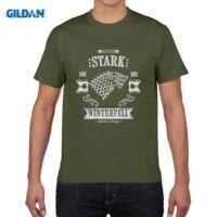 GILDAN Men Short Sleeve T Shirt The Grey Wolf T Shirt House Stark Guys New Camisetas
