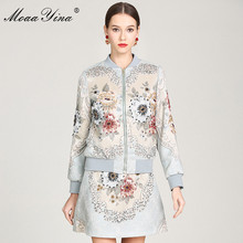 MoaaYina High Quality Fashion Designer Jacket jacket spring Autumn Women Rose Floral Beading Casual Elegant Short