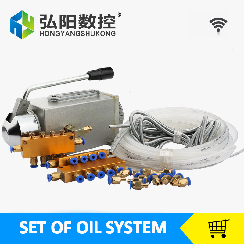 One set lubricating oil pump hand-actuated cnc router electromagnetic lubrication pump lubricator stainless steel body free shipping pa 100m high pressure oil pipe lubricating oil pump tubing 6x4 4x2 5 nylon lubrication numerical control oil pipe
