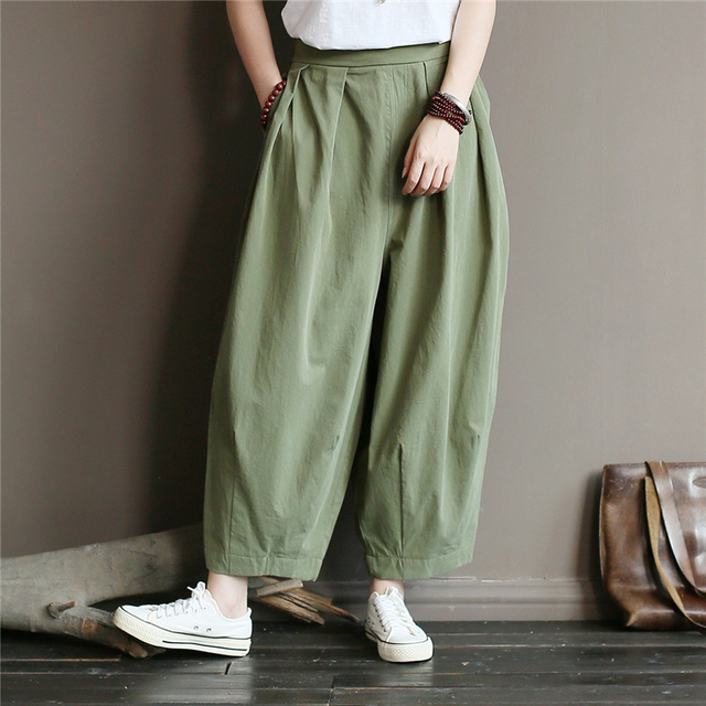 Johnature Women Autumn Straight Pants Cotton Elastic Waist Trouser 2019 Fall Solid Color Loose Casual Women Full Length Pants