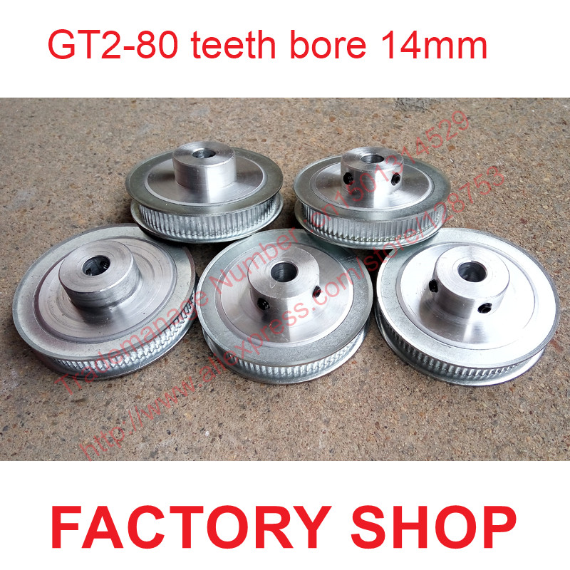 whole sale 5pcs 80 teeth Bore 14mm GT2 Timing Pulley 80 tooth fit width 6mm of 2GT timing Belt High quality Free shipping high quality 1pc 80 teeth gt2 timing pulley bore 5mm 14mm fit width 6mm 2gt timing belt toothed tooth cnc machine 3d printer