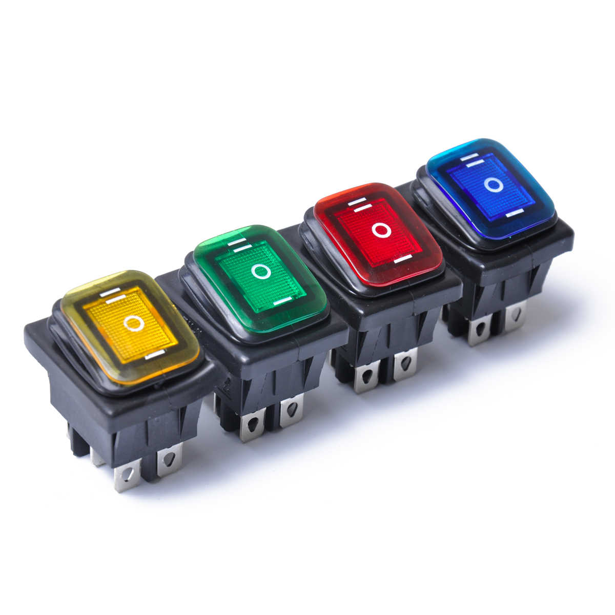 Rocker Toggle Switch On-Off-On 6 Pins 12V DC Car Boat Automobiles Waterproof LED Latching Switches