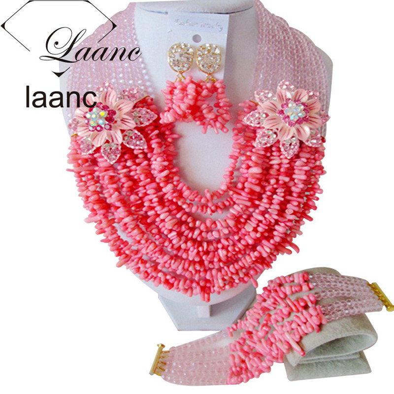 Laanc Pink Crystal and Coral Beads Necklace Jewelry Set Women Dubai Bridal Necklace and Earrings Sets AL574 резиновые сапоги детские barbie br2023