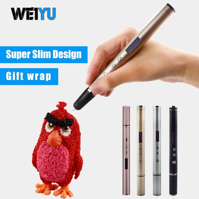 Bescheiden Weiyu Neue 3d Stift Rp900a Mit Abs/pla Kunststoff Filamente High-end-metall Gehäuse 3d Druck Stift Ultra Dünne Pen-3d Modell Magie Stifte Ungleiche Leistung