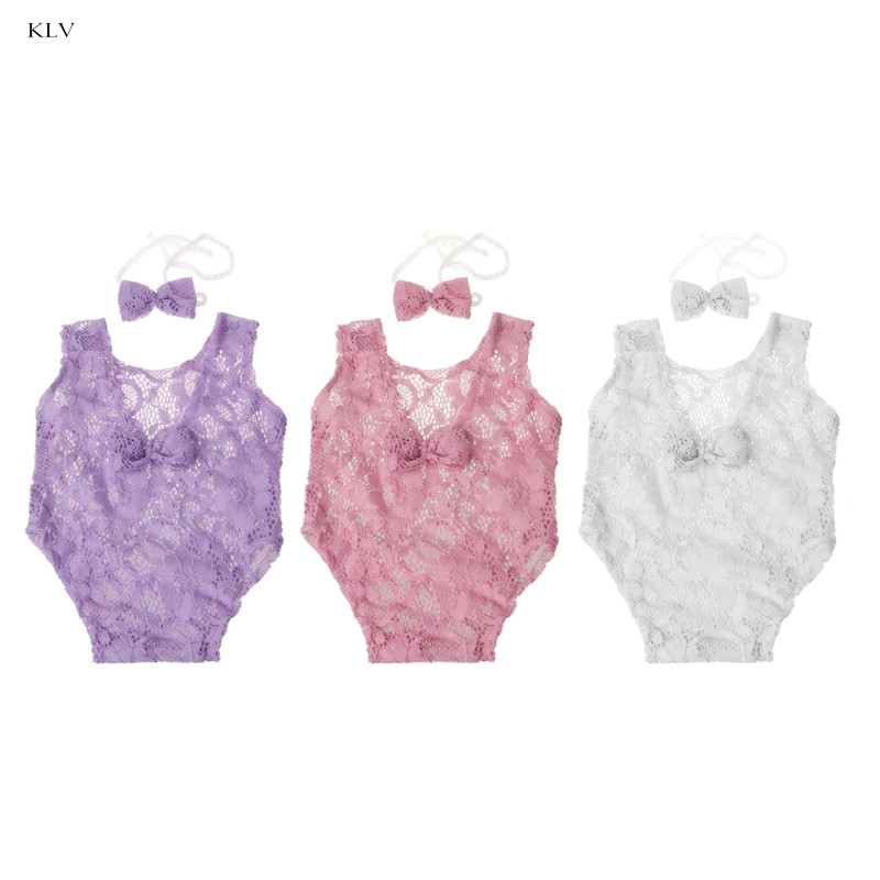 Baby Photography Props Backless Hollow Bowknot Lace Romper Newborn Outfit