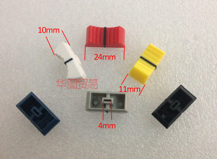 60pcs Mixer Potentiometer Push Button Knob Cap Fader Cap / Mixing Station Light Stage Hole 4mm Blue Yellow White Gray Red