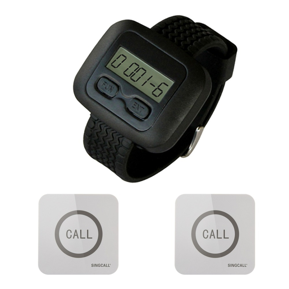 SINGCALL Wireless Service Calling Pager System, 1 Watch Receiver with 2 Touchable Bells,waterproof function service call bell pager system 4pcs of wrist watch receiver and 20pcs table buzzer button with single key