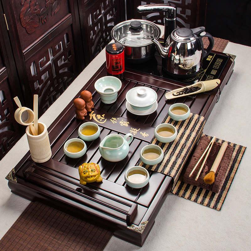 Ensemble de thé chinois plateau en bois massif offre spéciale cuisinière à induction Kungfu développement en gros de produits personnalisés