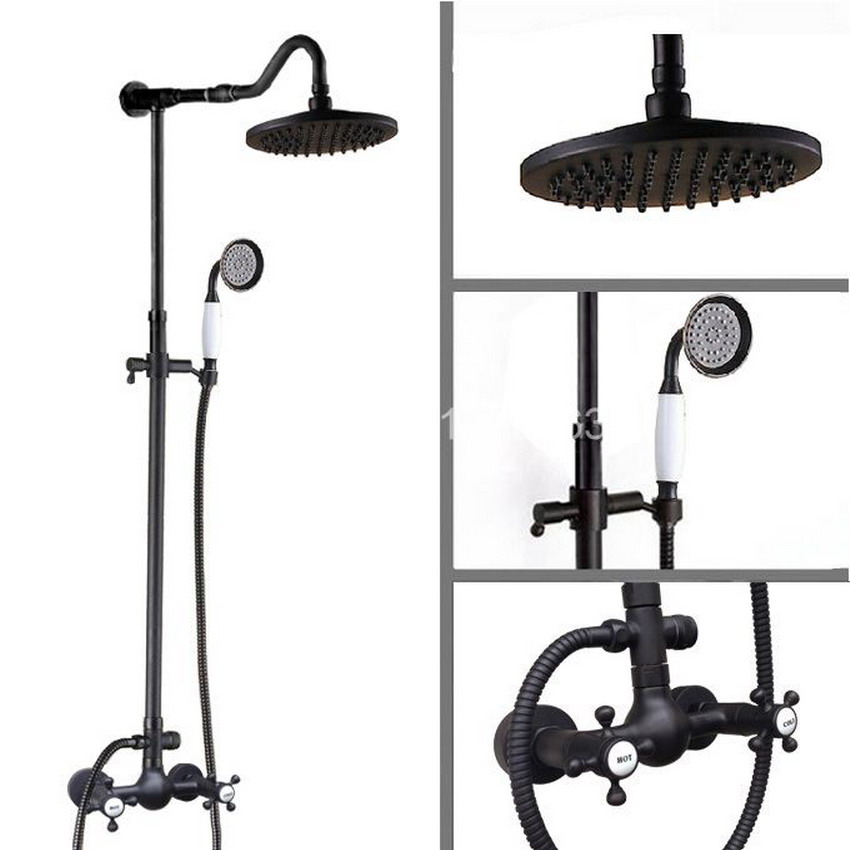 Black Brass Oil Rubbed Bronze Hot Cold Bathroom Shower Faucet hand held shower Two handles Set ars796