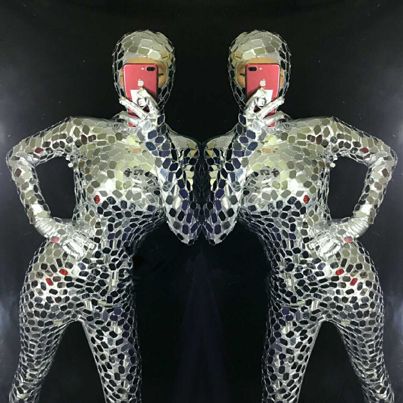 R29 Silver mirror female bodysuit dj stage performance wears outfits bar jumpsuit tight robot women ballroom dance costumes clubR29 Silver mirror female bodysuit dj stage performance wears outfits bar jumpsuit tight robot women ballroom dance costumes club