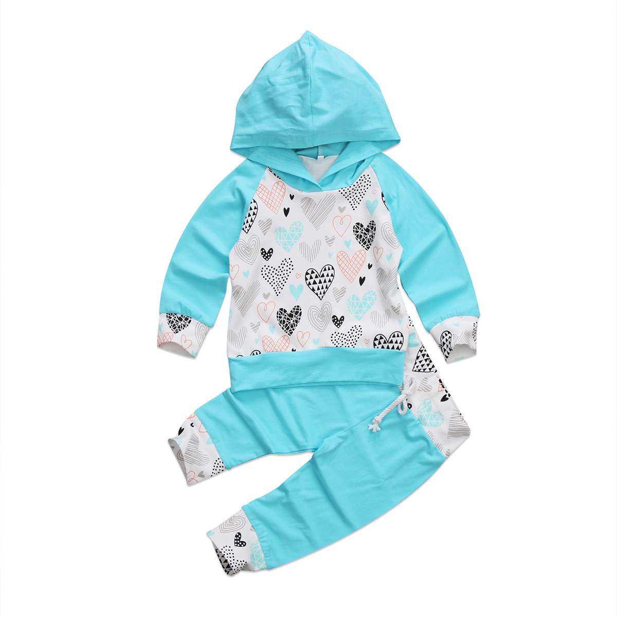 Pudcoco 0-3Y Toddler Baby Boy Girl Clothes Set Hooded Tops Patchwork Heart T-shirt+Long  ...