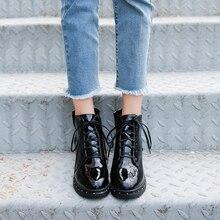 цены Women's Ankle Boots 2018 Autumn Winter Warm Fashion Leather Short Boots Pumps Lace Up Platform Boots Female Cotton Shoes Boots