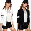 Suerte perro Moda Mujeres Casual Blazer Jacket Outwear Cremallera de La Vendimia