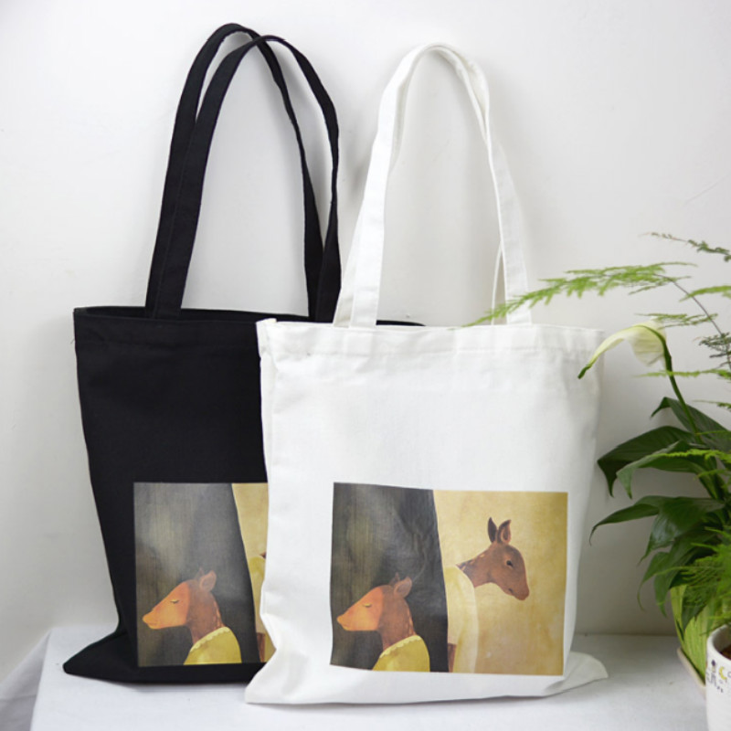 Art Print Fashion Large Capacity Shopping Bag Cartoon Canvas Female Shoulder Bags