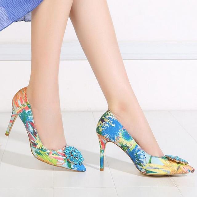 2019 Brand Women Pumps Fashion Rhinestone Pointed Thin High-heeled Women Shoes Plus Size High Heels Single Wedding Shoes XP30 4