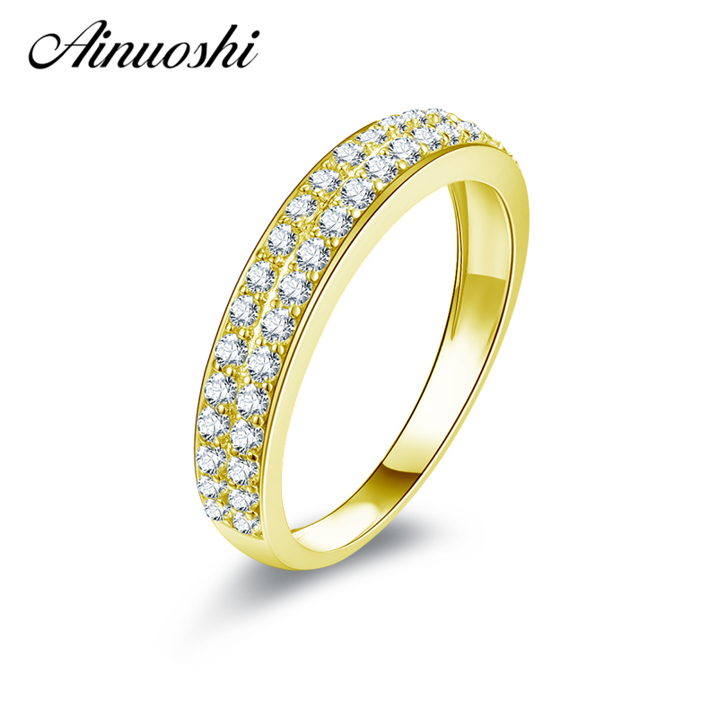 AINUOSHI 14K Solid Yellow Gold Half Eternity Ring Double Pave Sona Diamond Matching Band CZ Women