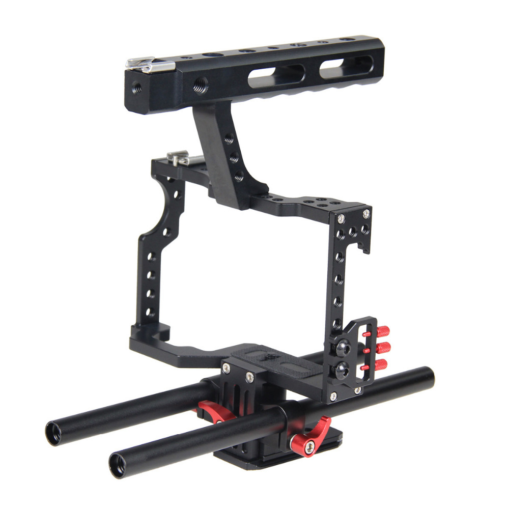 New Professional Camera Cage DSLR Camera Cage with Top Handle Grip + Rail Head for Sony A7S A7 A7R A7RII A7SII Panasonic GH4 digitalfoto tilta a7 professional dslr camera rig cage with baseplate wooden handle top handle for sony a7 a7s a7s2 a7r a7r2