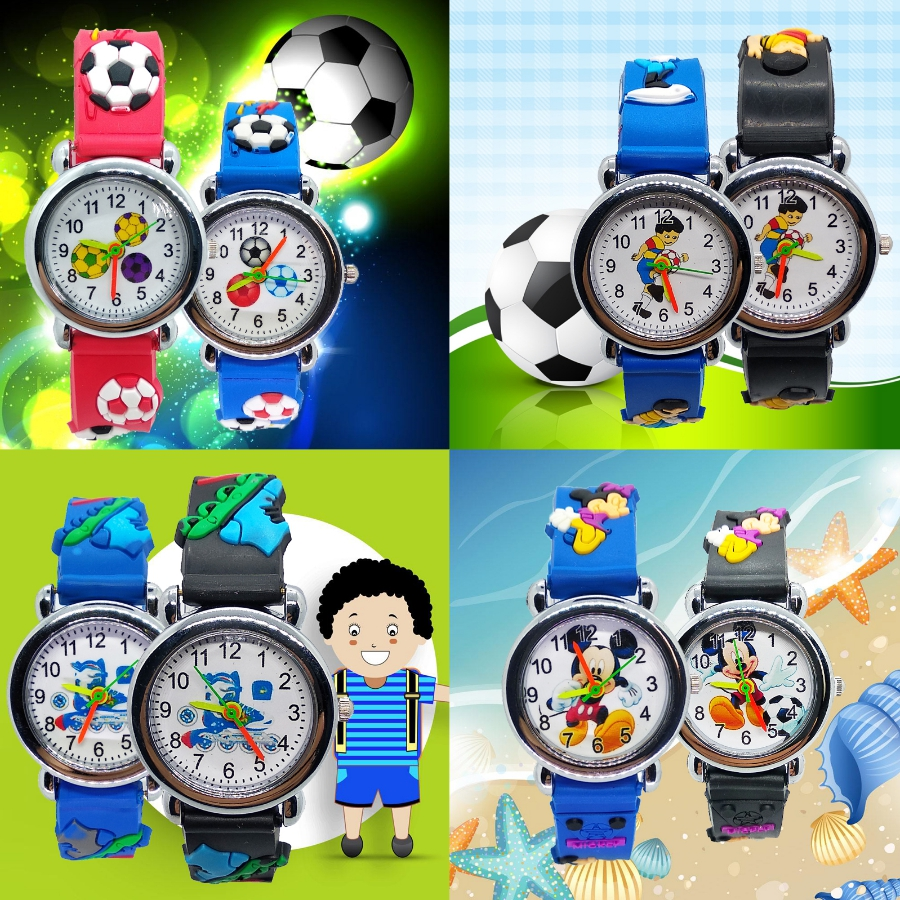 4 Style Mix Children Watch Cute Mickey Football Cartoon Watches Kids Girls Boys Clock Silicone Wrist Watch Child Christmas Gift