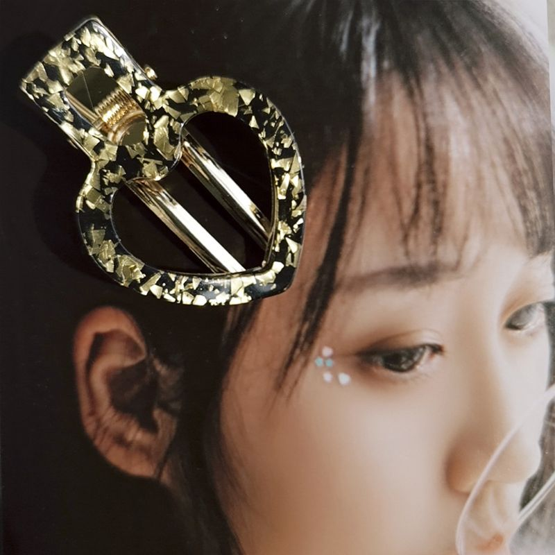 Korean Geometric Hollow Love Heart Hair Clips Women Girls Leopard Acetate Glitter Duckbill Hairpins Styling Side Bangs Barrettes in Women 39 s Hair Accessories from Apparel Accessories