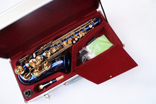 ZK-300 E-flat alto saxophone / tube / instruments blue body gold key metal luggage