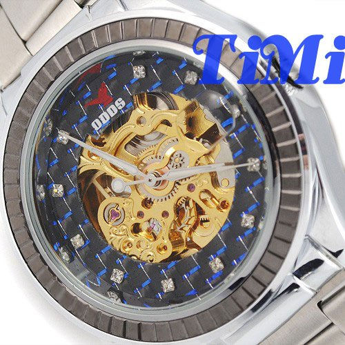 New Elegant Blue Tone Dial Automatic Steel Wrist Watch Mens Gold Magnifier freeship top creative dot matrix blue led mens wrist watch xmas gift freeship