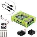 4 в 1 Профессиональный Комплект для Raspberry Pi 3 & 2 модель B B +, зеленый 9 Слоя Корпус, Вентилятор Охлаждения, Кабель Micro Usb с Переключателем, Радиаторы