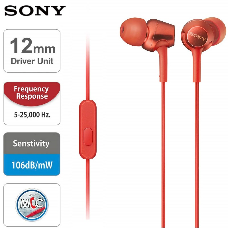 Original SONY MDR-EX255AP Headphone 3.5mm Wired Earbuds Music Earphone Headset Hands-free With Mic For Xiaomi Huawei Smart Phone