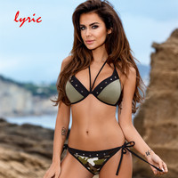 Lyric Green Army Lace Up Bikini Set Sexy Punk Swimwear Bathing Suit Women S Swimming Suit