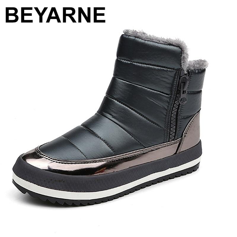 BEYARNE Femmes Bottes Chaussures À Fermeture À Glissière Femmes D'hiver Bottes Femme Hiver Au Chaud Chaussures Cheville Bottes pour Femmes de Neige Imperméables Bottes de Pluie
