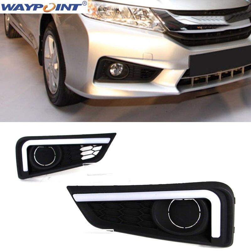 For Honda City 2015-2017 2PCS White Light Guide DRL Daytime Running LightFor Honda City 2015-2017 2PCS White Light Guide DRL Daytime Running Light