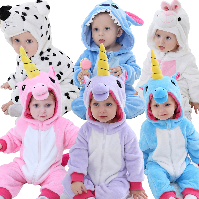 Baby Rompers For Boys Girls Cartoon Flannel Pajamas Stitch Unicorn Animal Newborn Rompers Stitch Toddler Baby's Sets