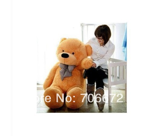 New stuffed circled-eyes light brown  teddy bear Plush 140 cm Doll 55 inch Toy gift wb8705 huge lovely new plush teddy bear toy stuffed light brown teddy bear with bow birthday gift about 160cm