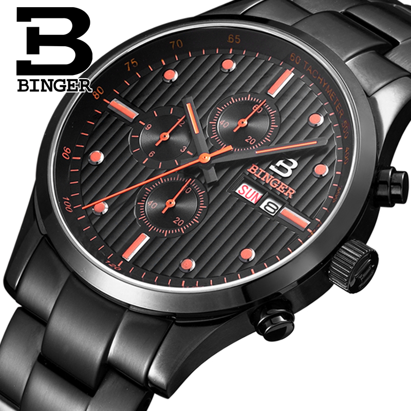 все цены на Genuine Luxury Switzerland BINGER Brand Men watch leather strap quartz fashion sapphire calendar waterproof free shipping в интернете