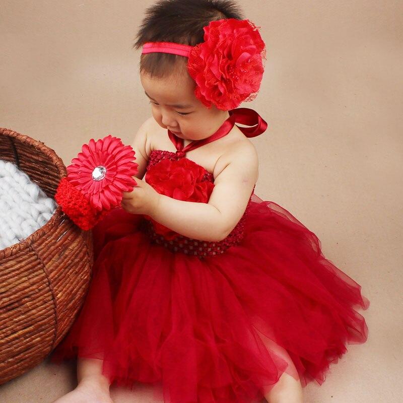 Christmas Tutu Dress with Matching Headband Baby Girl Peony Flower Tulle Dress Set Birthday Party Photo Costume TS043